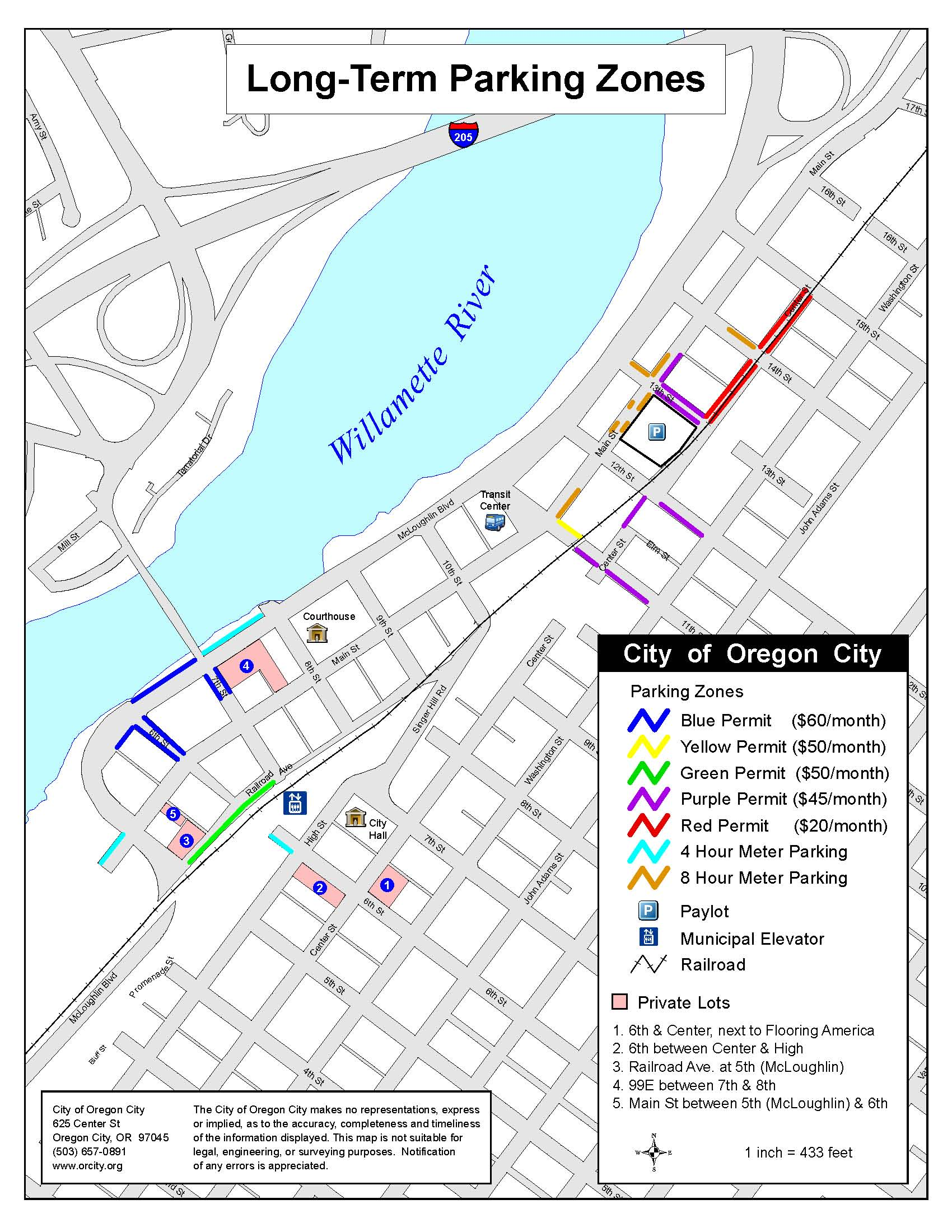 Downtown Parking Information City Of Oregon City - City map of oregon