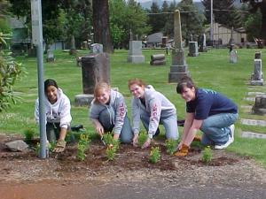 High School Students helping during Spring Cleanup 2008