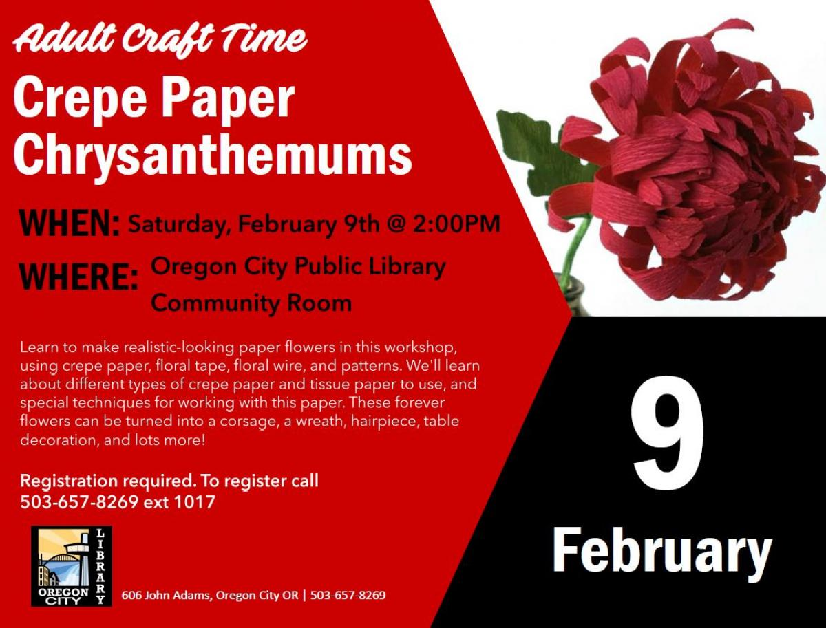 Paper Flower Making Class City Of Oregon City