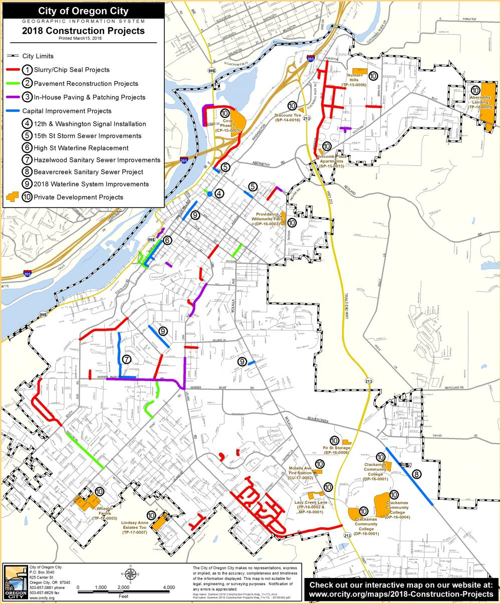 Capital Of Oregon Map.Construction Projects City Of Oregon City
